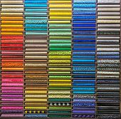 Pattern Of Carpet. The Color Palette Of The Carpet. Samples Of Multi-colored Carpets On The Shelves poster