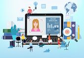 Online Education Webinar Icons Composition With Teacher Coach Trainer Women And Students On Laptop E poster