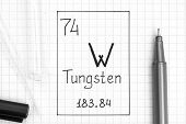 The Periodic Table Of Elements. Handwriting Chemical Element Tungsten W With Black Pen, Test Tube An poster