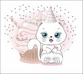Lovely Cute White Kitten Little Kitten Happy Birthday Greeting Card, With Cupcake poster