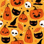 Halloween Seamless Pattern With Cute Pumpkins, Black Cat And Other Halloween Elements. Halloween Vec poster
