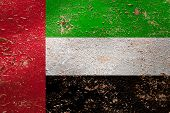 National Flag Of United Arab Emirates  On Old Peeling Wall Background.the Concept Of National Pride  poster