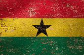 National Flag Of Ghana  On Old Peeling Wall Background.the Concept Of National Pride And Symbol Of T poster