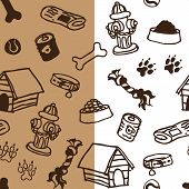 Dog supplies seamless pattern