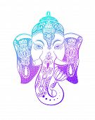 Lord Ganesha Head With Lotus Drawing - Indian Spirit Animal Elephant Tattoo Or Yoga Design poster