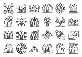 Big Set Of Thin Line Icons Related With Human Resources Management Isolated On White. Outline Team W poster