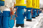 The Valves For Opening And Closing The Gas Supplying At The Gas Compressor Station In Winter. Blue T poster