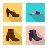 Vector Illustration Of Footwear And Woman Sign. Set Of Footwear And Foot Vector Icon For Stock. poster