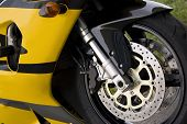 picture of crotch-rocket  - Closeup detail of a modern performance motorcycle - JPG