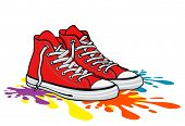 Red Sneaker Shoe, Canvas Shoe, Simple Vector Illustration poster
