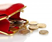 foto of bereavement  - female red wallet with coins isolated on white - JPG