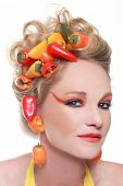 pic of hair integrations  - Conceptual Creative Image of Peppers Integrated into Hair - JPG