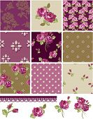 Pretty Floral Rose Seamless Vector Patchwork Patterns and Elements. Use as fills, digital paper, or