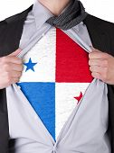 Business Man With Panamanian Flag T-shirt