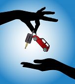 stock photo of rental agreement  - Human hands exchanging modern car keys with automatic locking system and red car symbol - JPG