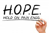 picture of encouraging  - Hand writing Hope concept with black marker on transparent wipe board - JPG