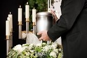 stock photo of urn funeral  - death and dolor   - JPG
