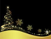 picture of christmas  - Christmas tree black vector illustration with stars - JPG