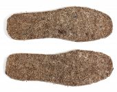 stock photo of insole  - Felt insoles for shoes isolated on white background - JPG