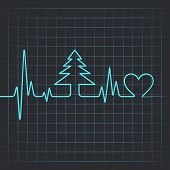 stock photo of ecg chart  - Illustration of heartbeat make christmas tree and heart - JPG