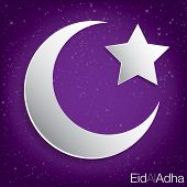 foto of eid al adha  - Concave moon and star Eid Al Adha card in vector format - JPG