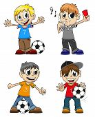 foto of referee  - Boys playing with the ball and the referee with a whistle - JPG