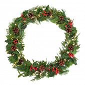 stock photo of mistletoe  - Natural christmas wreath with holly - JPG