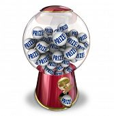picture of gumball machine  - Prize balls in a gumball or candy machine to illustrate winning a contest jackpot or special reward or award - JPG