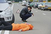 stock photo of disappointed  - Road accident - JPG