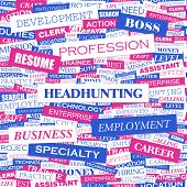 HEADHUNTING. Word cloud illustration. Tag cloud concept collage. Vector text illustration.
