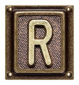 Metal button alphabet letter R