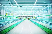 stock photo of supermarket  - Interior of empty supermarket - JPG