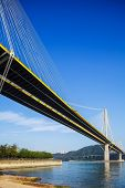 picture of hong kong bridge  - Ting Kau suspension bridge in Hong Kong - JPG