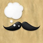 Moustaches On Old Paper And Speech Bubble