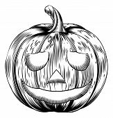picture of lithographic  - A Halloween pumpkin in a retro vintage woodblock or woodcut etching style - JPG