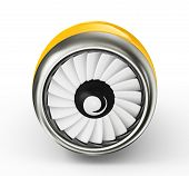foto of rotor plane  - yellow turbine isolated on a white background - JPG