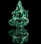 picture of malachite  - malachite mineral stone close up  with reflection on black surface background - JPG