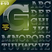 Vector illustration of Glass font powered graphic styles. Set 8-1
