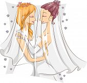 Illustration of a Pair of Female Same Sex Couple Embracing Each Other After Being Married