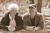 picture of married couple  - a senior married couple in sepia - JPG
