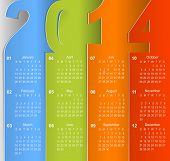 stock photo of green wall  - Clean 2014 business wall calendar - JPG