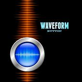 foto of waveform  - Silver button with sound or music waveform and orange wave - JPG