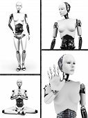stock photo of robotics  - Collage with a female robot - JPG