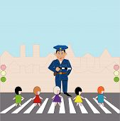 image of truncheon  - children on pedestrian crossing - JPG