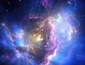 picture of cluster  - Space background filled with colorful nebulae and stars - JPG