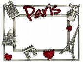 image of moulin rouge  - Metal photoframe souvenir from Paris Eiffel Tower Notre Dame the Moulin Rouge and a red Valentine heart symbols - JPG