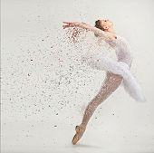 stock photo of ballerina  - Young ballerina dancer in tutu performing on pointes - JPG