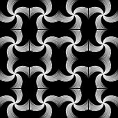 Design Seamless Monochrome Whirl Motion Pattern. Abstract Waving Lines Textured Background