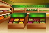 stock photo of papaya fruit  - A vector illustration of fruits and vegetables section in grocery store - JPG