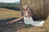 foto of haystacks  - Photo of sexy blonde in a field with haystacks - JPG